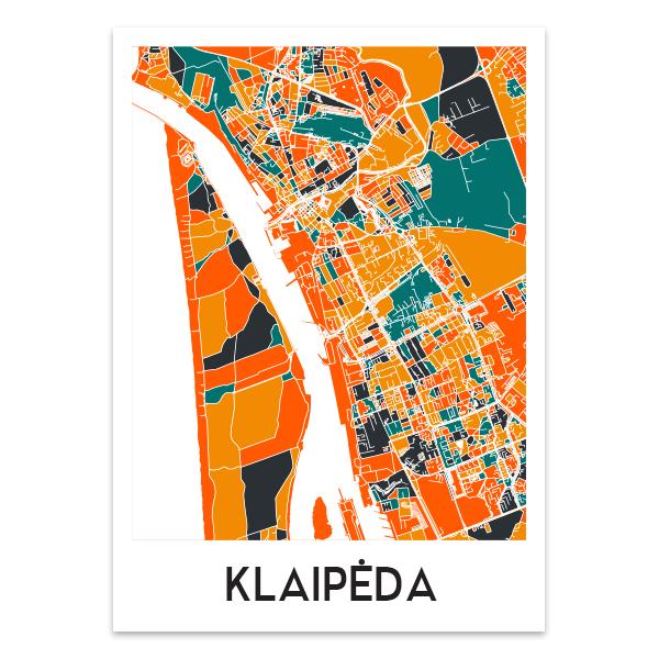 Klaipėdos žemėlapis (Spalvotas)