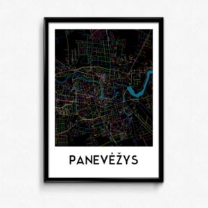 Panevėžio žemėlapis (Naktinis)