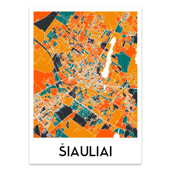 Šiaulių žemėlapis (Spalvotas)