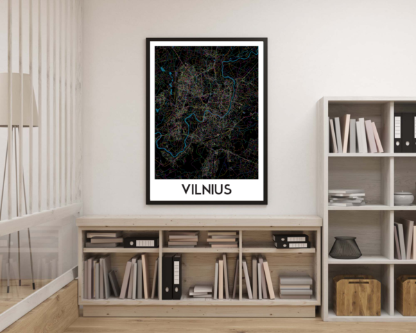 Vilniaus žemėlapis (Naktinis) interjere