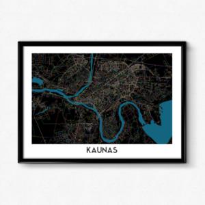 Kauno žemėlapis (Naktinis)