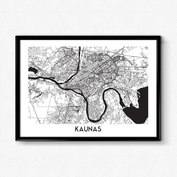Kauno žemėlapis (Juodai Baltas)