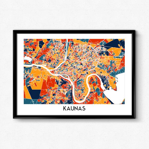 Kauno žemėlapis (Ryškus)
